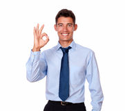 Attractive young man standing with ok gesture Stock Photos