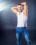 Attractive Young Man Under The Rain Royalty Free Stock Photography