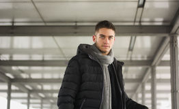 Attractive young man under tunnel in urban Royalty Free Stock Image