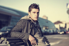 Attractive young man in urban environment Stock Images