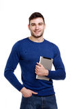 Man holding a computer tablet isolated on white background Stock Image