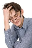 Attractive young man wearing glasses Stock Photos