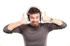 Attractive young man wearing headphones Stock Photo
