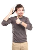 Attractive young man wearing headphones Stock Photos