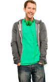 Attractive young man wearing hoodie smiling whit background port Stock Images