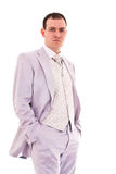 Attractive young man in wedding suit Stock Image