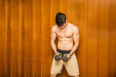 Attractive young man working out with dumbbells at Royalty Free Stock Photography
