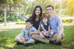Attractive Young Mixed Race Family Park Portrait Stock Images
