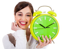 Attractive young model holding the clock Stock Photos