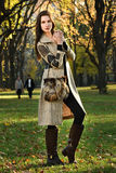 Attractive young model posing at Central Park for fall fashion Stock Photography