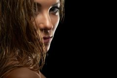 Attractive young model posing at studio. Close up cropped portrait of a gorgeous young confident fierce female model with wet hair and natural makeup copyspace royalty free stock photography