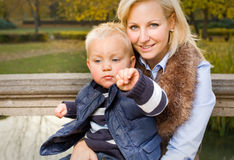 Attractive young mom and son portrait. Royalty Free Stock Image