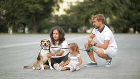 Attractive young mother, bearded father, cute little daughter and beagle dog are sitting on the city square during their stock footage