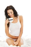 Attractive young  with mug of something hot. Stock Photos