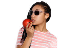 Attractive young mulatto girl posing in the studio Stock Photography