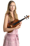 Attractive young musician holding her violin Stock Photo