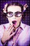 Attractive Young Nerd Girl With Surprised Look Stock Photography