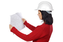 Attractive young person architect. A over white background Stock Images