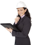 Attractive young person architect taking notes in a folder. A over white background Royalty Free Stock Photo
