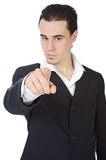Attractive young person businessman indicating with the finger, Royalty Free Stock Image