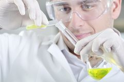 Attractive young PhD student scientist in laboratory Royalty Free Stock Photo
