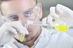 Attractive young PhD student scientist in laboratory Royalty Free Stock Photos