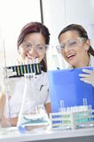 Attractive young PhD students scientists observing the color shift after the solution destillation in chemical laboratory Stock Photos