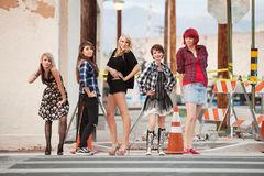 Attractive young punk teen girls Royalty Free Stock Photos