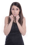Attractive young puzzled woman  - isolated on white Stock Images