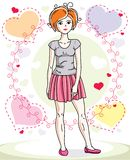Attractive young red-haired woman adult standing on colorful bac. Kdrop with Valentine romantic hearts in casual clothes. Vector human illustration Stock Photos