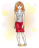 Attractive young red-haired woman standing on colorful backgroun. D with bubbles and wearing casual clothes. Vector human illustration Stock Images