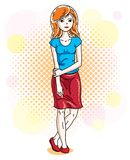 Attractive young red-haired woman standing on colorful backgroun. D with bubbles and wearing casual clothes. Vector human illustration Stock Photography