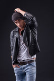 Attractive young rocker with cool image Royalty Free Stock Image
