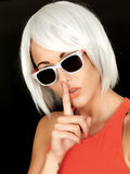 Attractive Young Secretive Woman Wearing Sunglasses Royalty Free Stock Photo
