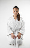 Attractive young sexy women in a karate pose Royalty Free Stock Photo