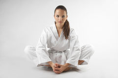 Attractive young sexy women in a karate pose. Attractive young sexy woman in a karate pose isolated on white Royalty Free Stock Photo