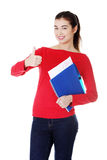 Attractive young showing her perfect exam result. Stock Photography