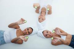 Attractive young slim women prefer healthy Stock Photo