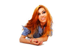 Attractive young smiling girl in shirt Stock Images