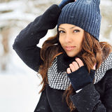 Attractive young smiling woman in winter - outdoor portrait Stock Image