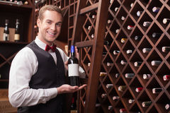 Attractive young sommelier is showing elegant Royalty Free Stock Photography