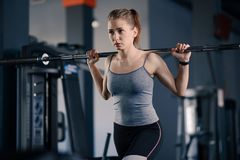 Attractive Young Sports Woman Doing Lunges with Barbell in the Gym. Fitness and Healthy Lifestyle. stock photos