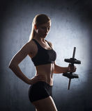 Attractive young sporty woman having a dumbbell exercise on her bicep Royalty Free Stock Photo