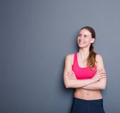 Attractive young sporty woman smiling Royalty Free Stock Image
