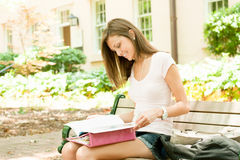 Attractive young student. A pretty young college or high school age girl with study materials royalty free stock photography