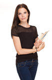 Attractive young student girl. Stock Photos