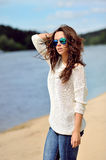 Attractive young stylish brunette woman outdoor portrait Royalty Free Stock Photo