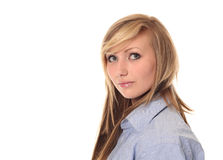 Attractive young teenage girl looking up Stock Photo
