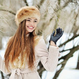 Attractive young winter woman - outdoor portrait Stock Images