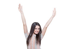 Attractive young woman with arms raised Royalty Free Stock Photo